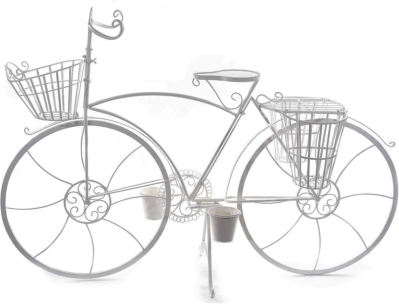 Ideapiu - Bicicleta Decorativa con 5 macetas de Metal Blanco ...