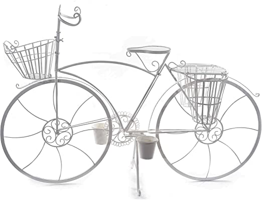 Ideapiu - Bicicleta Decorativa con 5 macetas de Metal Blanco ...