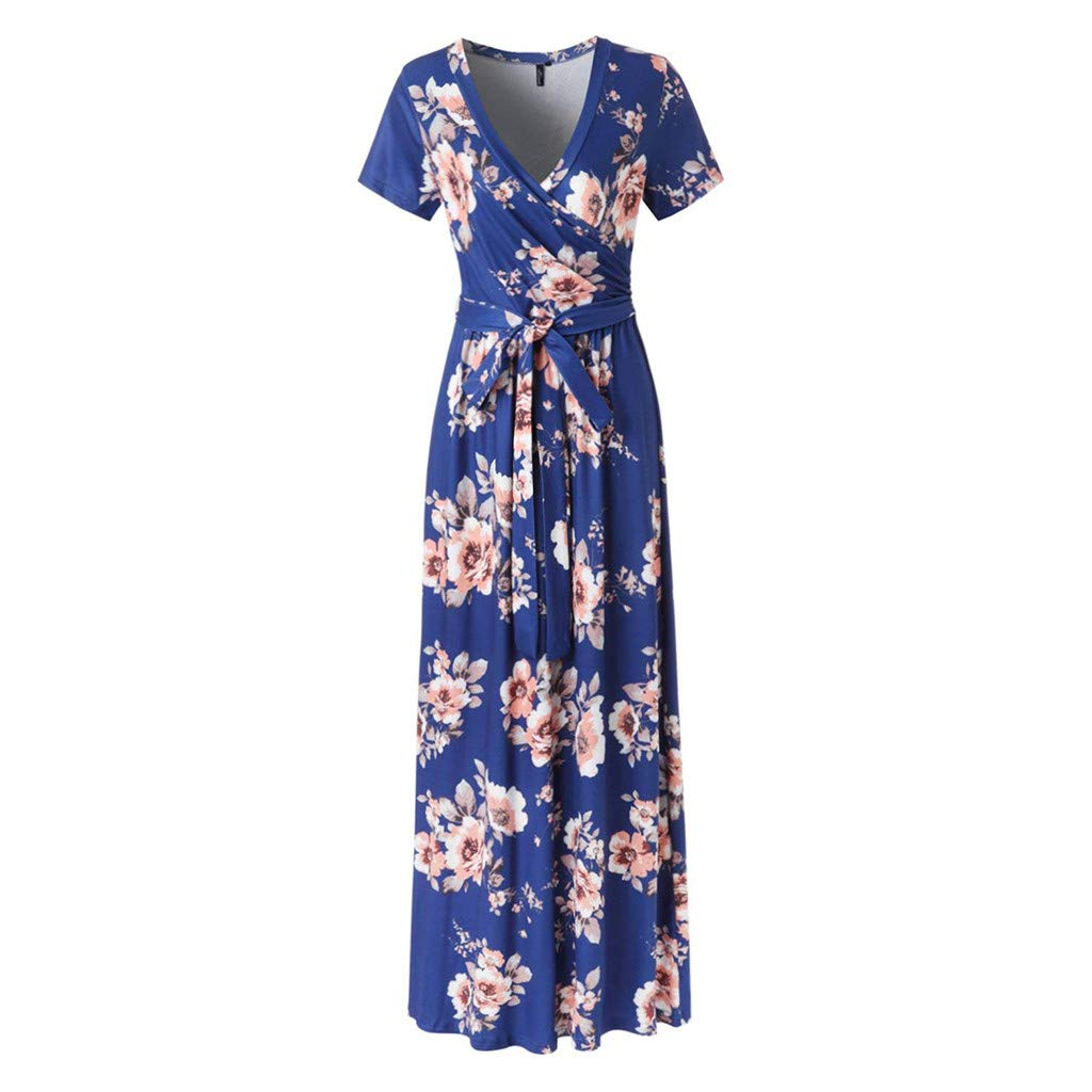 Fanyunhan Women Vintage Short Sleeve V-Neck Dress Flower Print Sundress Sexy Evening Party Maxi Dress with Sashes Blue