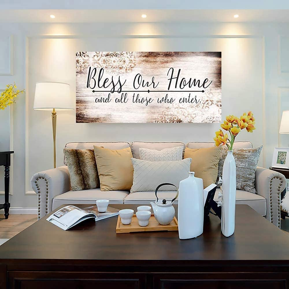 Bless Our Home Picture Framed Wall Decor Bless New Home Wall Art for Bedroom Office Framed Ready to Hang