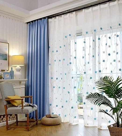 Home Curtain Cortinas Gasa Algodón y Lino Flor Azul Bordado Salón ...