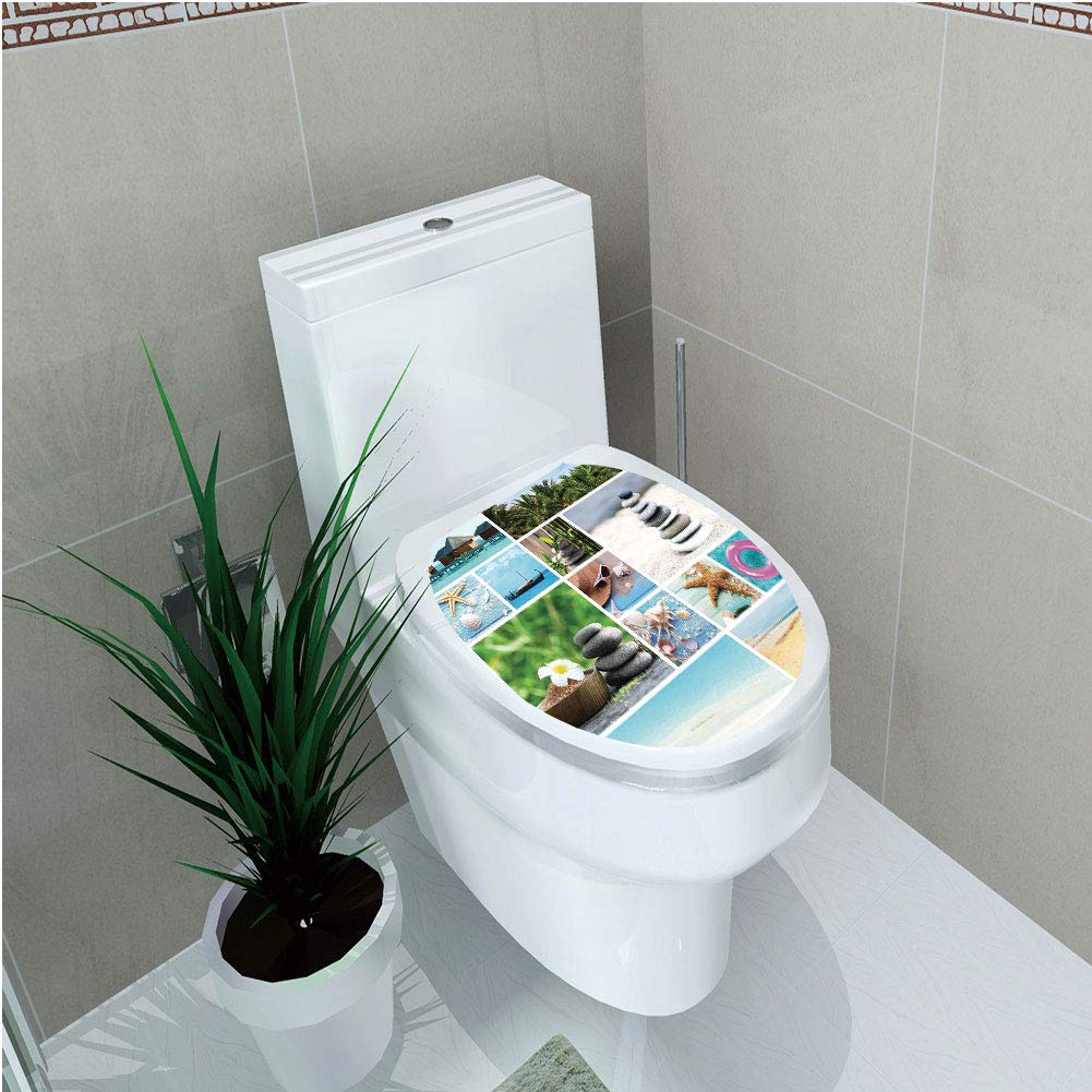 Toilet Custom Sticker,Spa,Collage of Spa Composition with Tropical Sandy Beach Ocean Rock Views Relax Rest Image,Multicolor,Diversified Design,W12.6''xH15.7''
