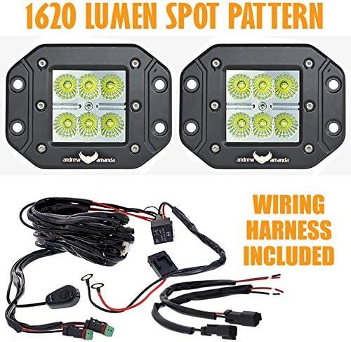 Amazon.com: 2x 18w Square LED Work/Driving Light - Flush Mount - Spot  Pattern w/Wiring Harness: AutomotiveAmazon.com