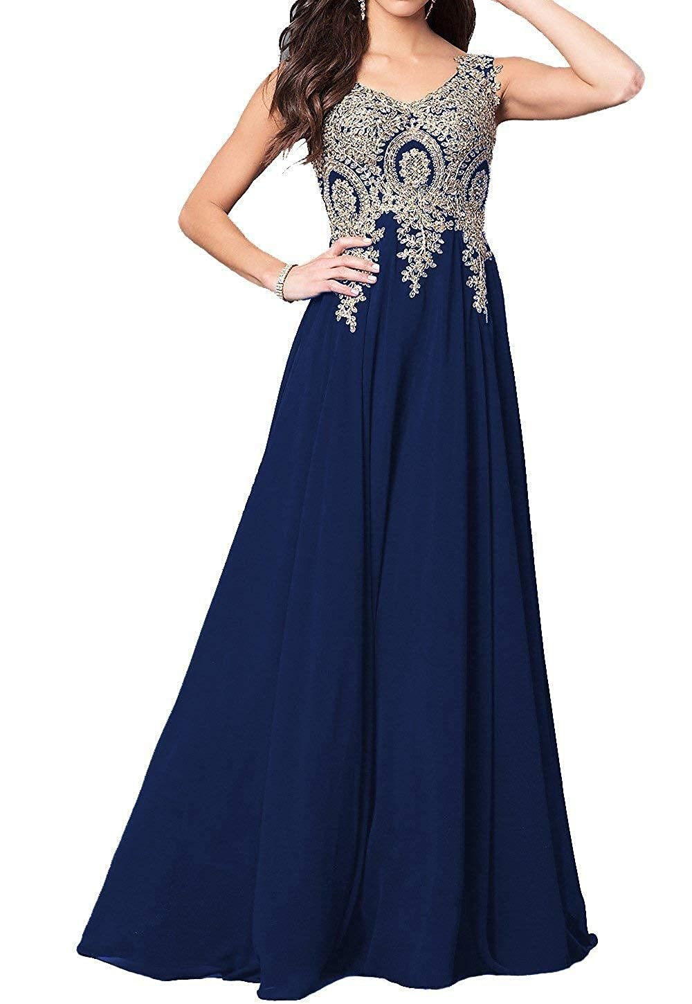 Navy bluee GMAR Beaded Appliques Prom Dresses A Line V Neck Open Back Long Formal Gowns