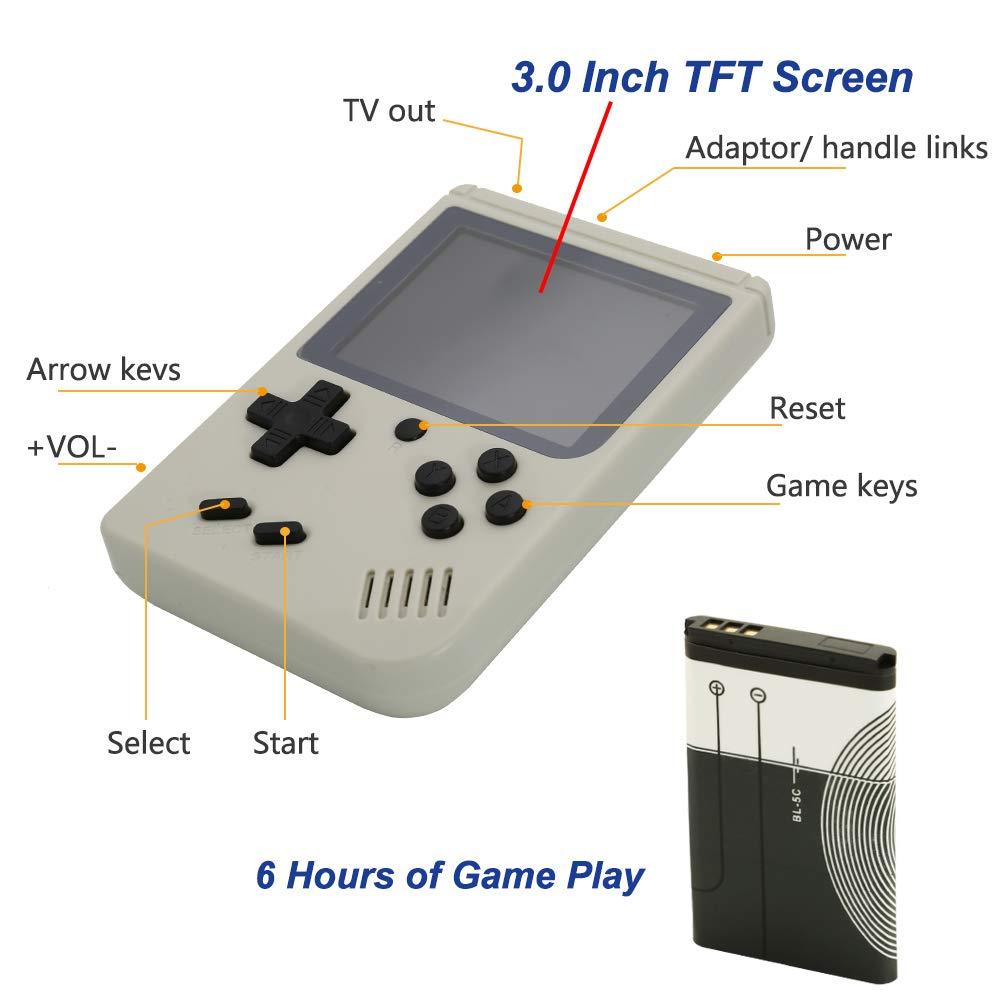 AKTOUGST Retro Handheld Game Console FC System 168 Classic Game Portable Video Game 3 Inch 2 Player Plus Extra Joystick Game Console Support on TV,Presend for Kid Adult, (White) by AKTOUGST (Image #4)