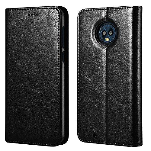 Moto G6 Case,ICARERCASE Vegan Leather Wallet Case/Flip Case Protective Shock Resistant Case Cover with Credit Card Slots for Motorola Moto G6 (Black)