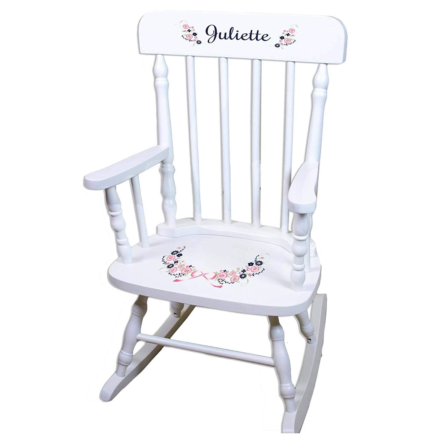 MyBambino Personalized Navy Pink Floral Garland White Wooden Childrens Customized Nursery Baby Girls Rocking Chair