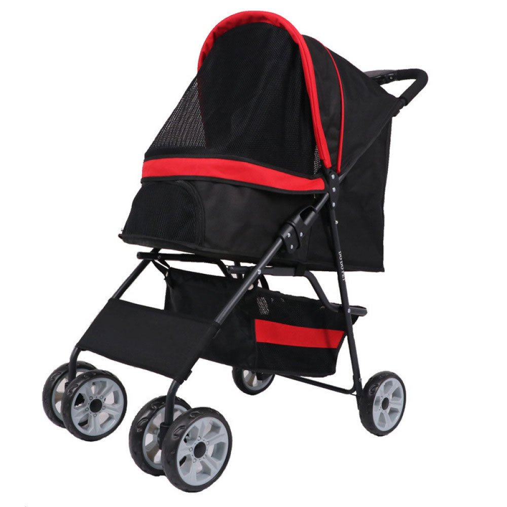 Black EDYUCGA High-end Pet Four-wheeled Carts Cats And Dogs Carts Small And Medium-sized Pet Trolleys,Black