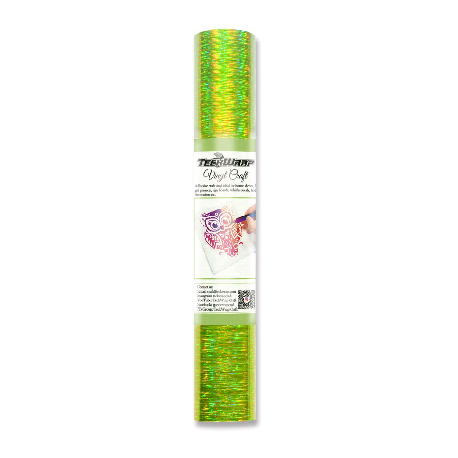 TECKWRAP Holographic Starlight Adhesive Vinyl,1ftx5ft,Lime Green