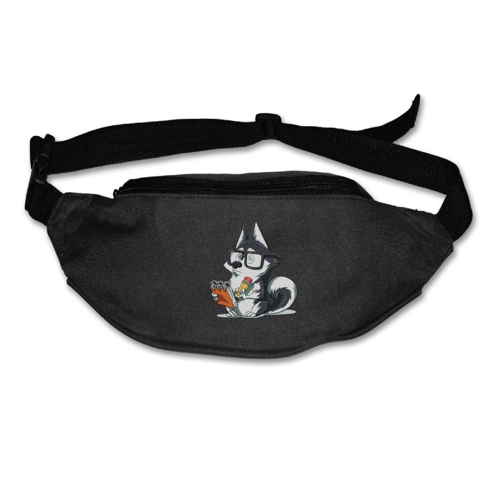 Waist Purse Cute Dog with Glasses Unisex Outdoor Sports Pouch Fitness Runners Waist Bags