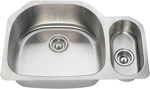 3221L 18-Gauge Undermount Offset Double Bowl Stainless Steel Kitchen Sink