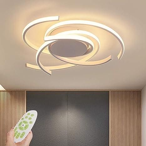 Chambre Gradation en continu T/él/écommande Dimmable Plafonnier LED Salle /à Manger 72W Plafonnier LED 6400LM Blanc 6 Anneaux Luminaire pour Salon
