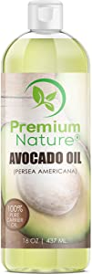 Premium Nature Avocado Oil,Natural Carrier Oil 16 oz, Rich In Protein, Amino Acids & Vitamins A, D & E, Prevents Aging, Treats Dry, Irritated & Acne Prone Skin