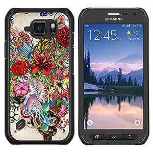TECHCASE---Cubierta de la caja de protección para la piel dura ** Samsung Galaxy S6 Active G890A ** --Dibujado Flor
