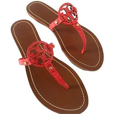 dba0a459bb3 Tory Burch Mini Miller Sandal Thong Flip Flop Snake Print Melon Size 7