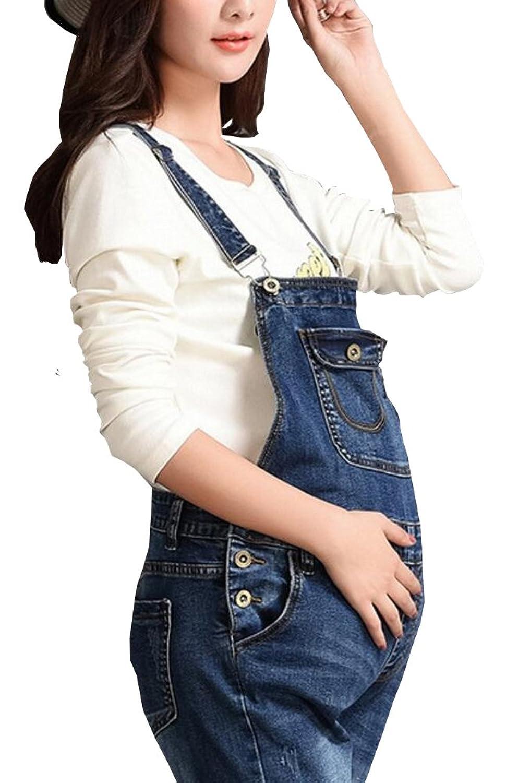 dfde3748646b Foucome Maternity Jumpsuit Plus Size Skinny Blue Strechy Romper Denim  Overalls