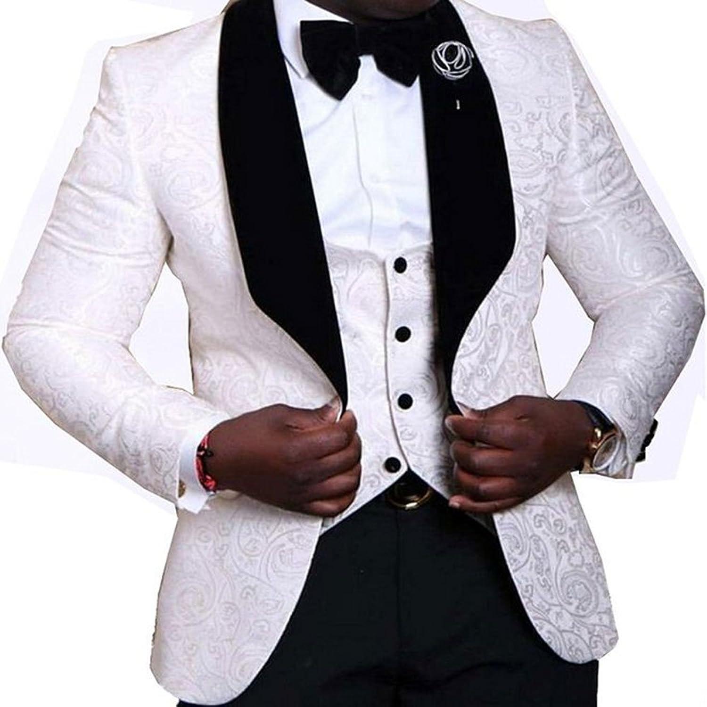 679954084 LoveeToo Men s 3-Piece Suit Slim One Button Tuxedo Blazer Jacket ...