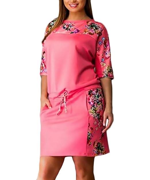 cc0d3f5285 Vestidos Mujer Cortos Verano Elegantes Manga Corta Cuello Redondo Moda  Vintage Estampado Flores Vestidos Camiseros Vestidos Tallas Grandes Disfraz  Túnica  ...
