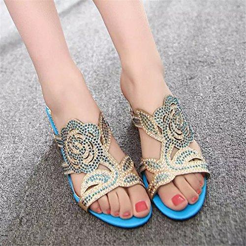 Talons Confortables Tongs Extérieur Ouverts Blue Lumino Cristal Sky Pantoufles Fleur Sandales Strass Carrés Gladiateur Femme xRf7zaqBw