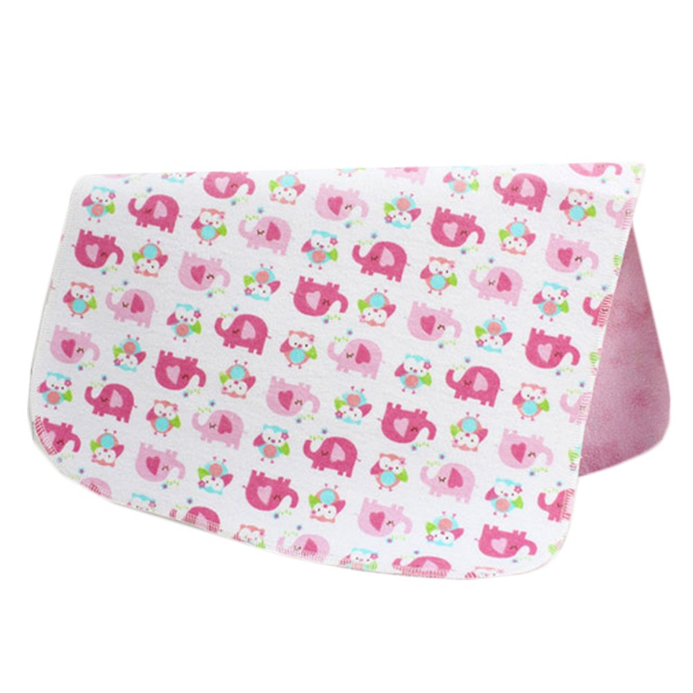 [1927 Inch] Lovely Waterproof Breathable Baby Urine Pad-Pink Elephants