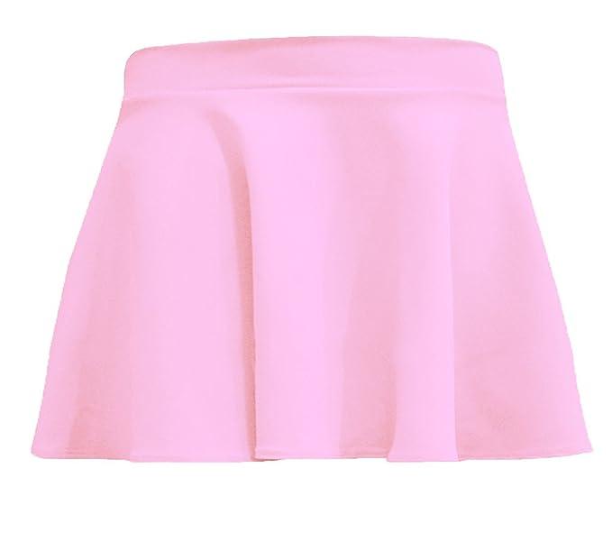 cf084e6c63 R KON Girls Kids Plain Flippy Flared High Waisted Skater Skirt