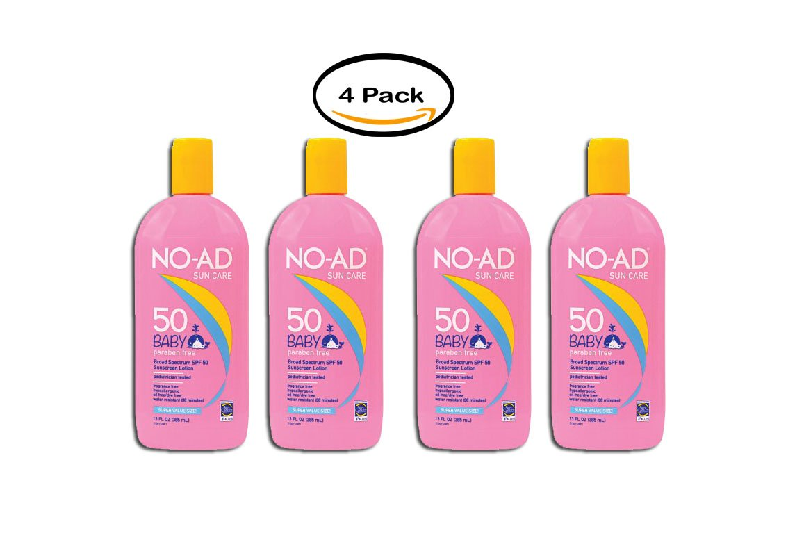 PACK OF 4 - No-Ad Sun Care Baby Broad Spectrum SPF 50 Sunscreen Lotion, 13 Fl Oz