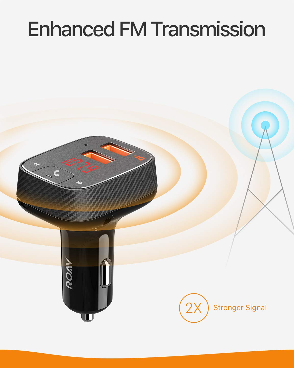 Roav SmartCharge F2, by Anker, FM Transmitter, Bluetooth Receiver, Car Charger with Bluetooth 4.2, Car Locator, App Support, 2 USB Ports, PowerIQ, AUX Output, and USB Drive to Play MP3 Files by ROAV (Image #3)