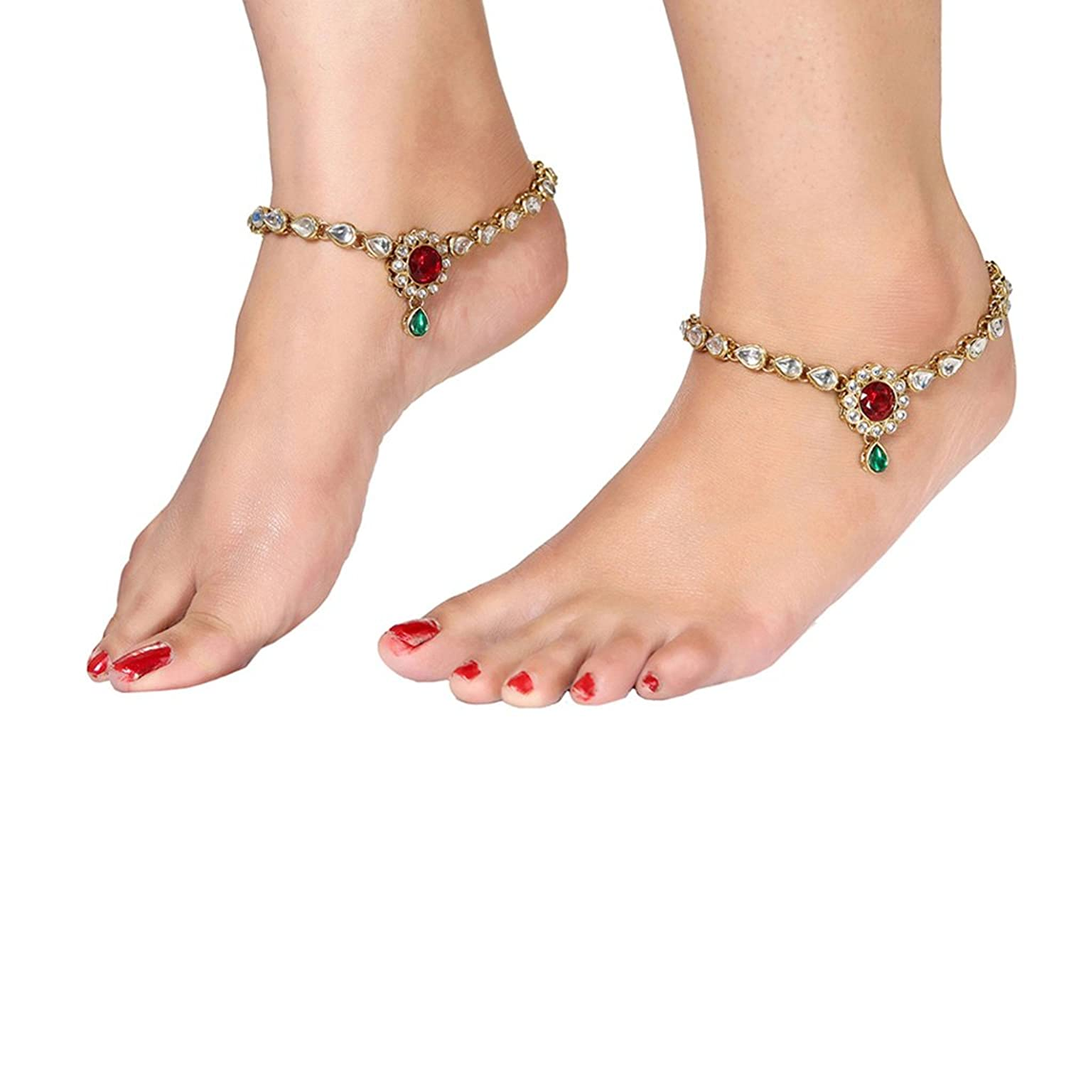 Buy Shining Diva Gold Plated Traditional Kundan Payal Anklets For ...