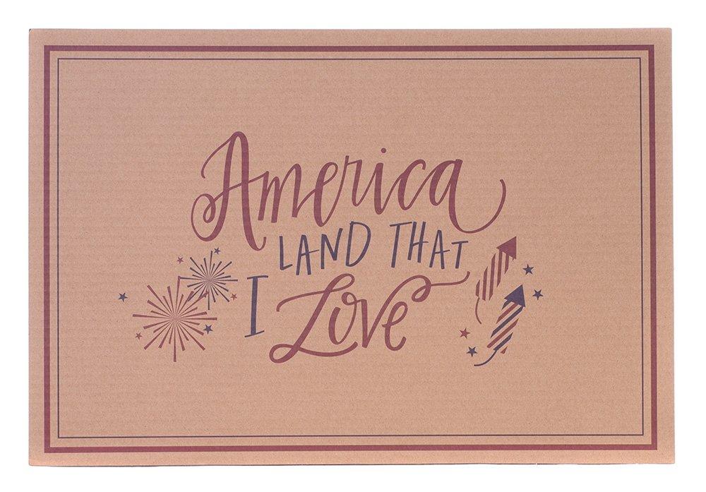 Boston International EDH00035 Eat Drink Host Corrugated Cardboard Placemats, 18.5 x 12.5, America Land That I Love