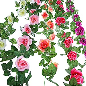 Wootkey 5 pcs (38 Feet) Artificial Rose Vine Fake Flower Garland for Wedding Home Garden Party Decoration (Champagne, Pink, Hot Pink, Cream, Purple) (Colorful) 55