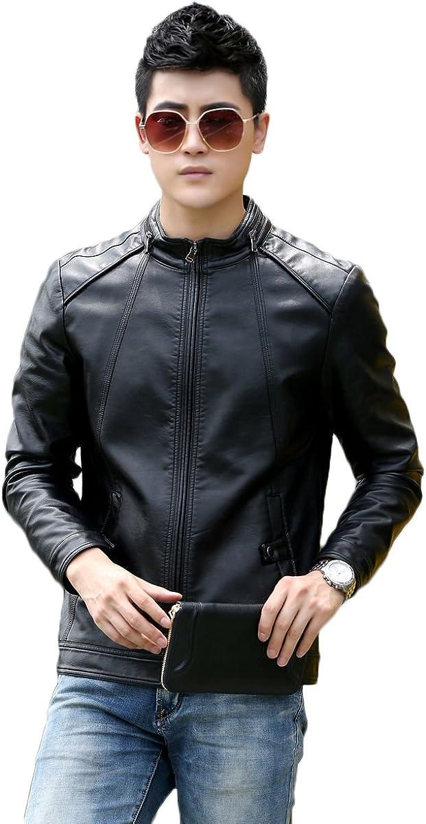 Mens Leather Jacket Slim Fit Biker Motorcycle Genuine Lambskin Jacket Coat T1472
