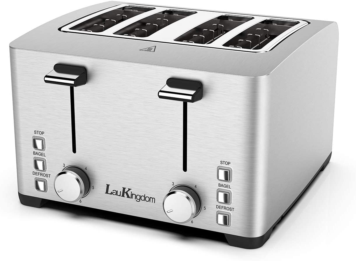 Toaster, Laukingdom Toasters 4 Slice Best Rated Prime, Top Rated Stainless Steel with Stop Bagel Defrost Function,Extra Wide Slots, 1500W Silver
