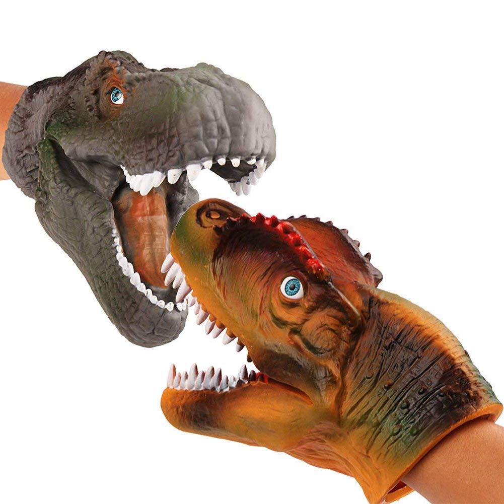 kati-way Dinosaure Marionnette Main Enfant Jouet Tyrannosaurus Rex Gants de Marionnettes à Main Spinosaurus 2pcs