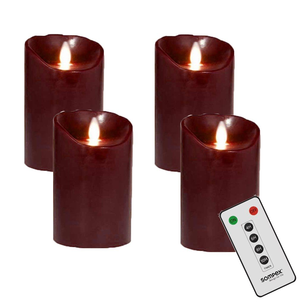 Sompex 4er Adventskranzset Flame LED Kerzen V14 Bordeaux Bordeaux Bordeaux 12,5cm mit Fernbedienung bff6cd