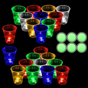 Five Color Glow in The Dark Beverage Pong Set-Light up Pong Adult Game for Indoor Outdoor Nighttime Competitive Fun, 22 Glowing Cups(Red,Blue,Orange,Green,White), 6 Balls, Party Game