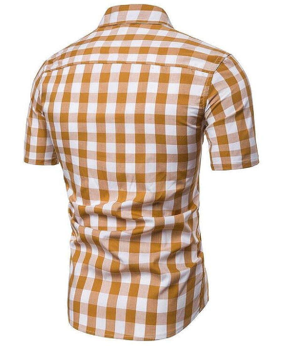 Nanquan Men Short Sleeve Slim Button Front Plaid Non-Iron Shirts