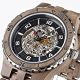 Wilds Wood Watches Premium Eco Self-Winding Wooden Wrist Watch For Men, Natural Durable Handcrafted Gift Idea for Him (Black Walnut)