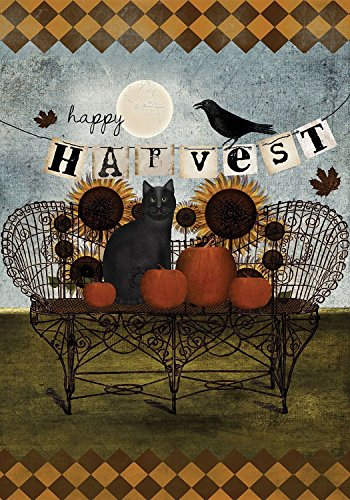 Happy Harvest Primitive Fall Garden Flag Black Cat Sunflowers 12.5