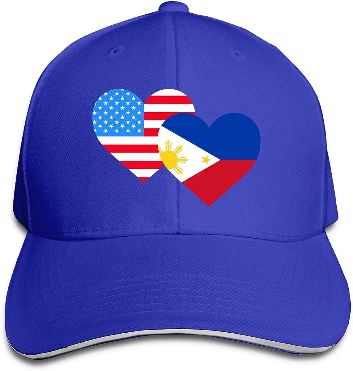 JustQbob1 American Philippines Heart Flag Outdoor Snapback Sandwich Cap Adjustable Baseball Hat Hip Hop Hat