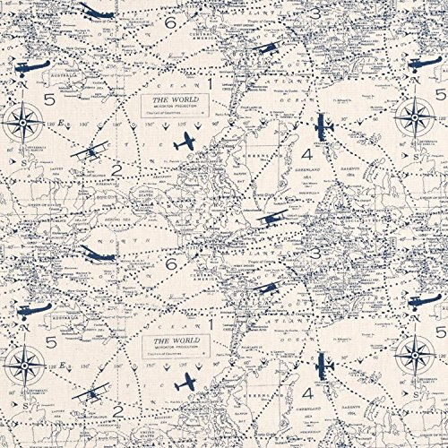 Premier Prints Air Traffic Felix Blue/Natural Fabric - By the Yard (Rub Felix)