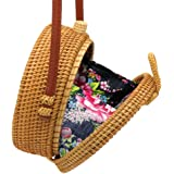 Luggage & Bags black Persevering Women Handmade Round Beach Shoulder Bag Circle Straw Bags Summer Woven Rattan Handbags Women Messenger Bags