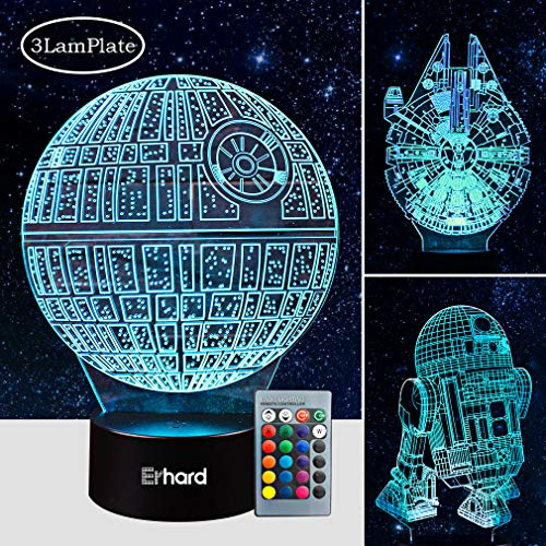 Green Force Lights - 3D Led Illusion Lamp Star Wars Night Light - Three Pattern and 7 Color Change Decor Lamp with Remote Control - Perfect Gifts for Kids and Star Wars Fans