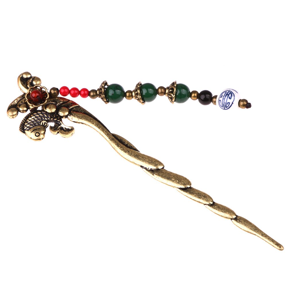 Jili Online Women Handmade Fish Tassel Beads Gemstone Hair Stick Hair Chopsticks Hairpin