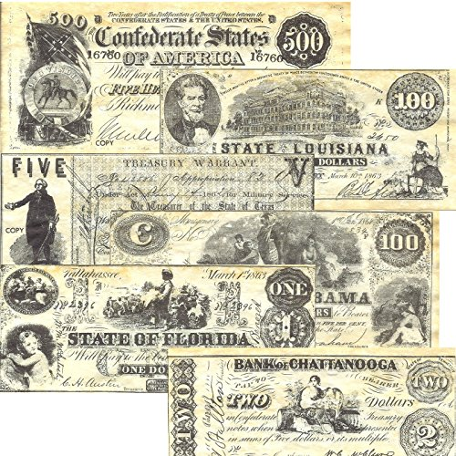 Confederate Currency Antiqued reproduction Looks old and feels old unique replicas of the original currency