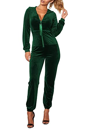 d8666e9f0cb Linsery Womens Zipper Front Long Sleeve Two Pocket Top Pajama Pant Jumpuit  S Green