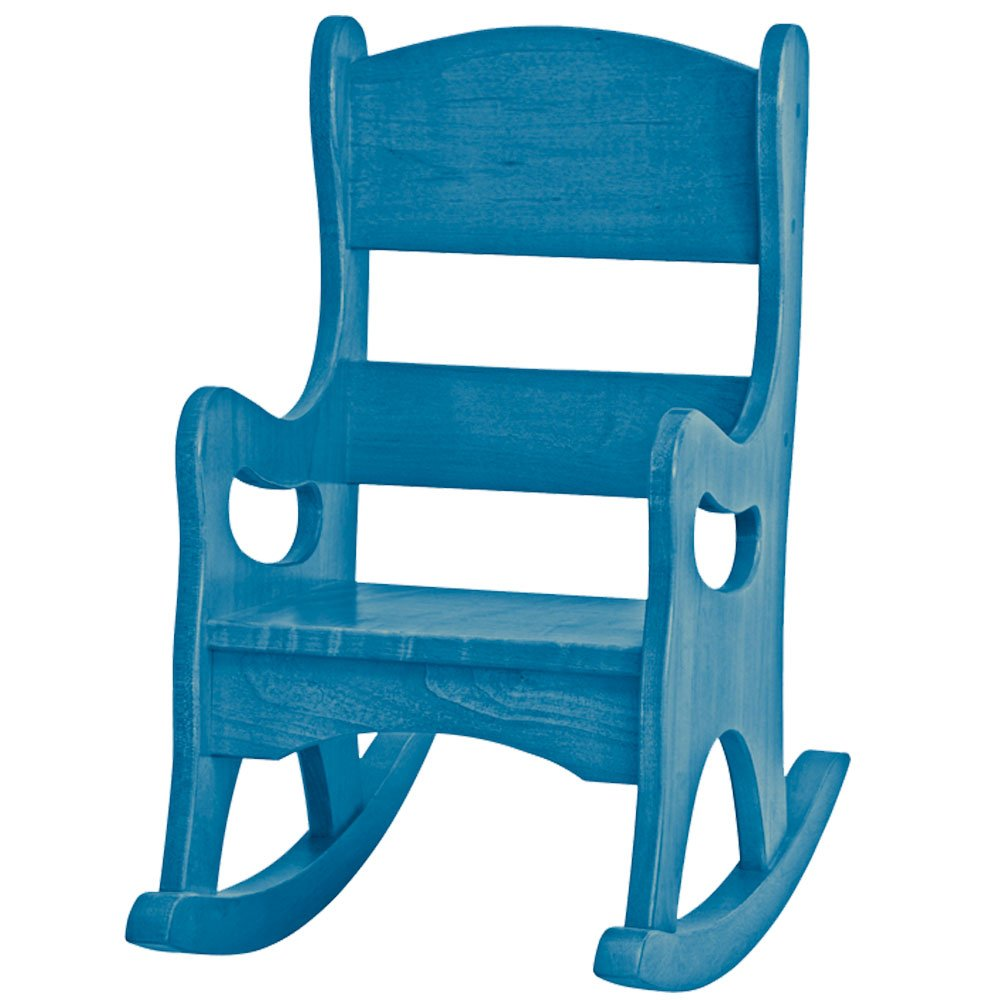 Amish Buggy Toys Kid's Play Wooden Furniture Rocker, Blue