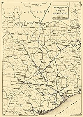 Map Of Texas Railroads.Amazon Com Old Railroad Map Texas State Railroads 1873 23 X