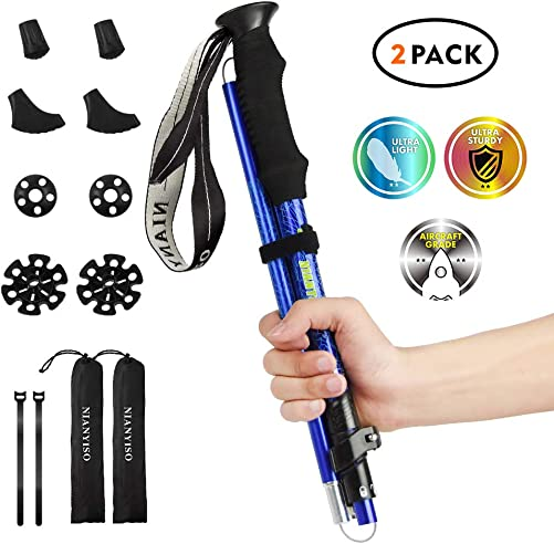 NIANYISO Hiking Poles Collapsible Lightweight for Height 5 3 -6 3 , 2 Pack Adjustable Trekking Poles Aluminum Hiking Walking Sticks Anti Shock Walking Poles with Rubber Tips Handle for Women