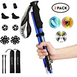 """NIANYISO Hiking Poles Collapsible Lightweight for Height 5 '3""""-6 '3"""", 2 Pack Adjustable Treckking Poles Aluminum Hiking Walking Sticks Anti Shock Walking Poles with Rubber Tips Handle for Men (Blue)"""