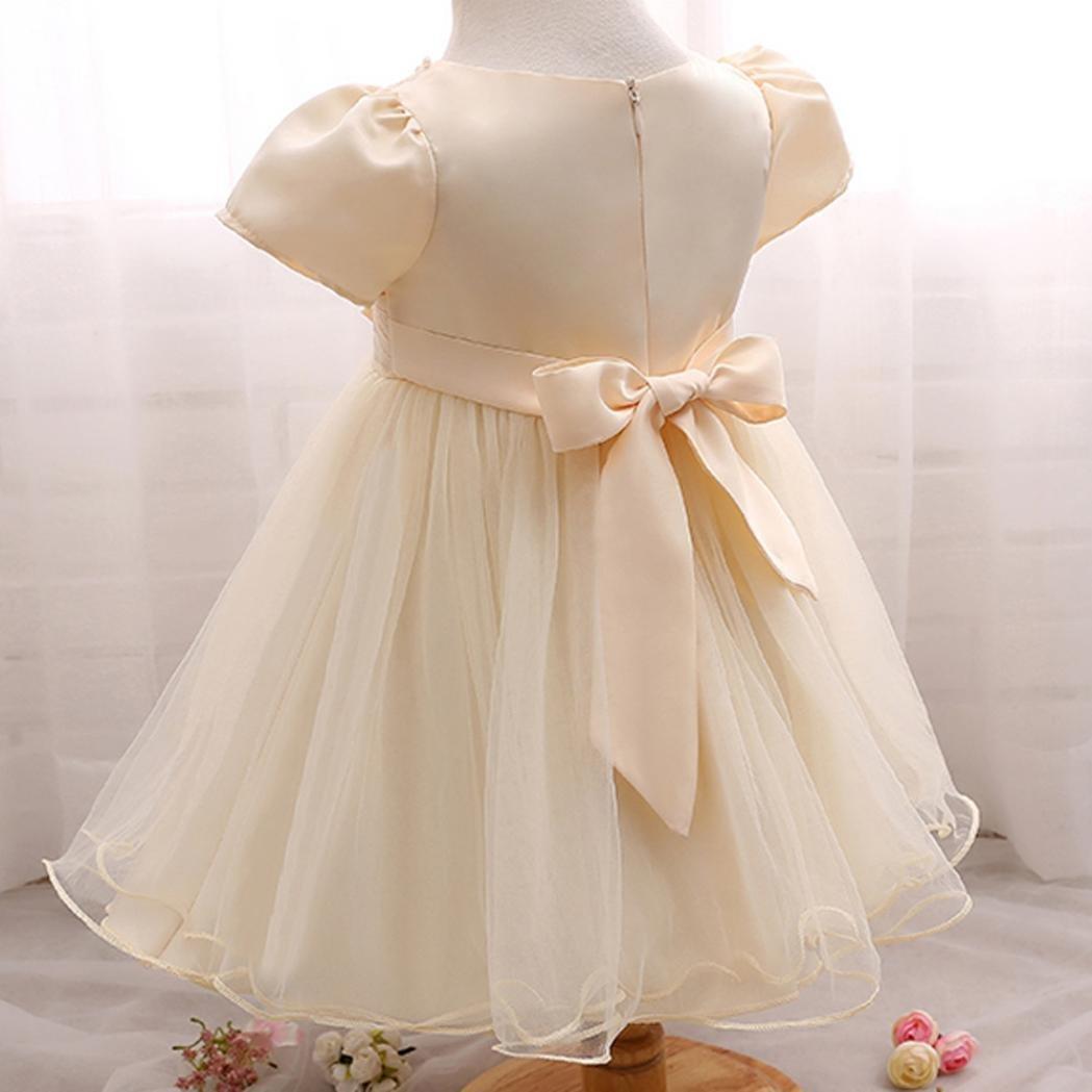 Oyedens Bambine Principessa Abiti Eleganti Bambina Partito Compleanno  Comunione Swing Vestiti Da Cerimonia Ragazza Vestito Formale ... aec57593125